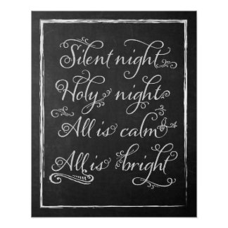 Silent Night Christmas Chalkboard Art Poster