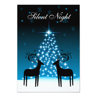 Silent Night Deer and Christmas Tree Holiday Card 13 Cm X 18 Cm Invitation Card