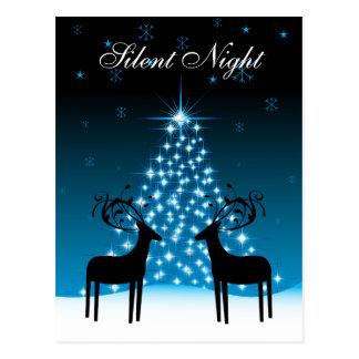 Silent Night ~ Deer and Christmas Tree Holiday Postcard