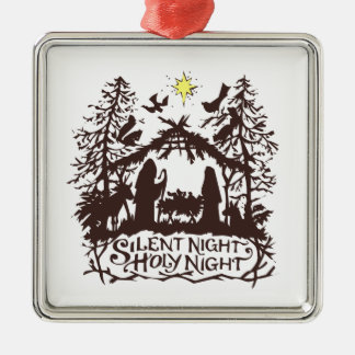 silent night metal ornament