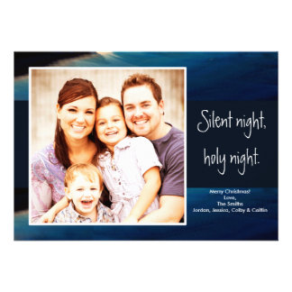 Silent Night Photo Christmas Card Invite
