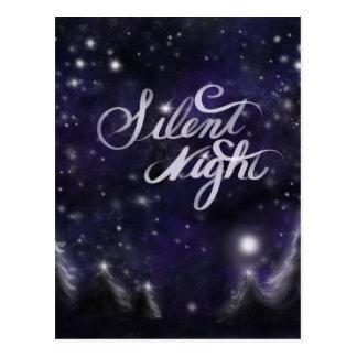 Silent Night - romantic Holiday snow scene Postcard