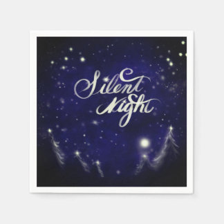 Silent Night - Romantic Winter snow scene Disposable Serviettes