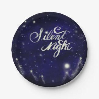 Silent Night - Romantic Winter snow scene Paper Plate