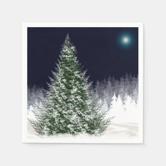 Silent Night Snow Covered Christmas Tree Holiday Disposable Serviettes