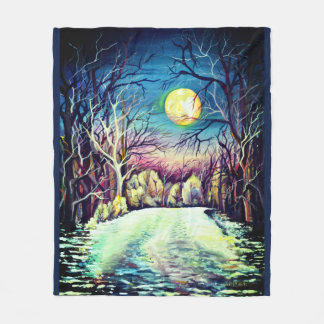 Silent Night Winter Full Moon Fleece Blanket