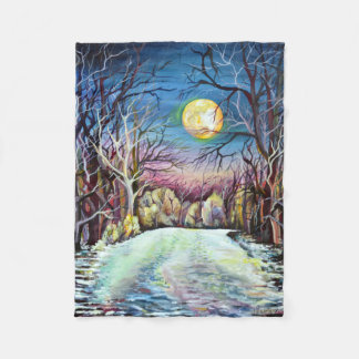 Silent Night Winter Full Moon in Sweden Fleece Blanket