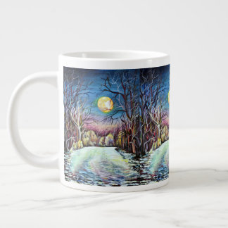 Silent Night Winter Full Moon in Sweden Large Coffee Mug