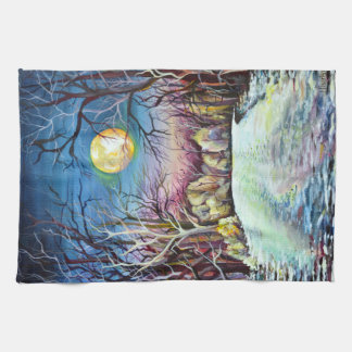 Silent Night Winter Full Moon in Sweden Tea Towel