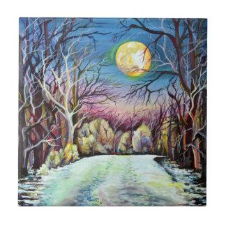 Silent Night Winter Full Moon in Sweden Tile