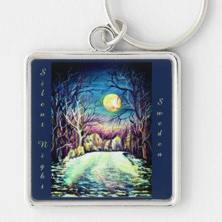 Silent Night Winter Full Moon Key Ring