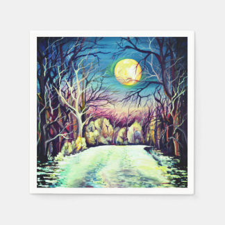 Silent Night Winter Full Moon Paper Serviettes