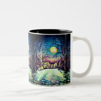 Silent Night Winter Full Moon Two-Tone Coffee Mug
