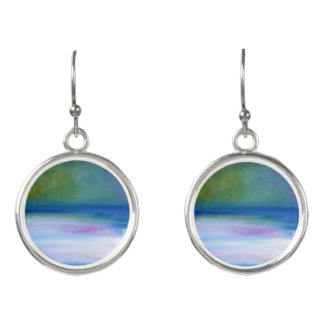 Silent Seas Blue and Green Abstract Drop Earrings