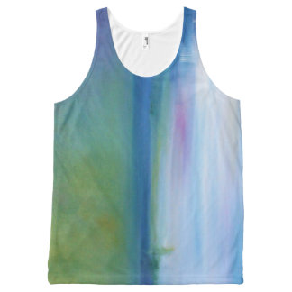 Silent Seas Blue and Green Abstract Tank Top