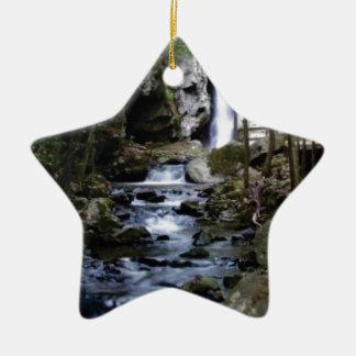 silent stream in forest ceramic ornament