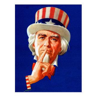 Silent Uncle Sam Vintage Kitsch Illustration Postcard