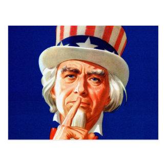 Silent Uncle Sam Vintage Kitsch Illustration Post Cards