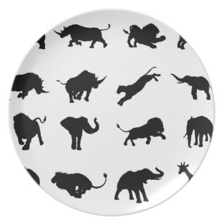 Silhouette African Safari Animal Plate