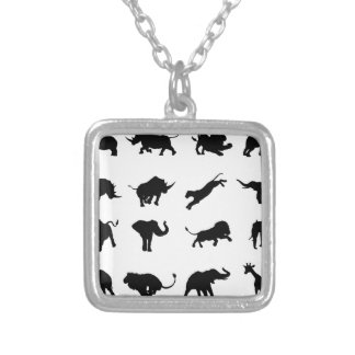Silhouette African Safari Animal Silver Plated Necklace