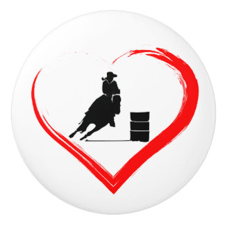 Silhouette Barrel Racing Horse and Red Heart Ceramic Knob