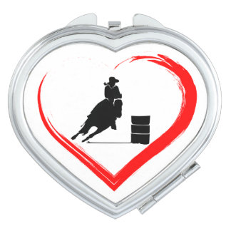 Silhouette Barrel Racing Horse and Red Heart Mirror For Makeup