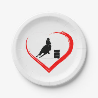 Silhouette Barrel Racing Horse and Red Heart Paper Plate