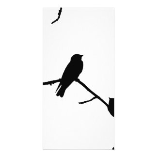Silhouette Black & White Swallow Pair Personalized Photo Card