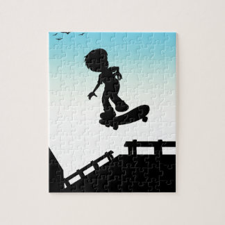 Silhouette boy skateboarding on the street jigsaw puzzle