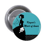 Silhouette Bride Bridal Party Maid of Honour Pinback Button