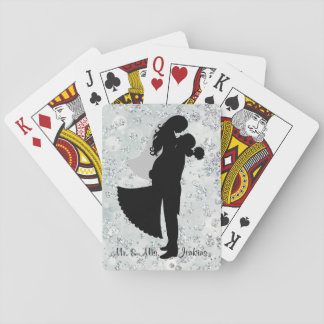 Silhouette Bride & Groom Silver Bokeh Bling Playing Cards