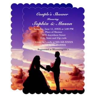 Silhouette Bride & Groom Sunset Couples Shower Card