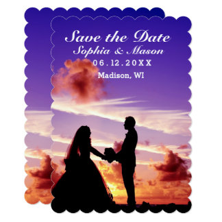 Silhouette Bride & Groom Sunset Save the Date Card