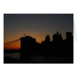 Silhouette Brooklyn Bridge Greeting Card