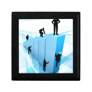 Silhouette Business People Competition Concept Gift Box