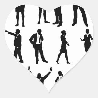 Silhouette Business People Set Heart Sticker