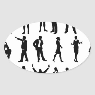 Silhouette Business People Set Oval Sticker