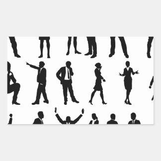 Silhouette Business People Set Rectangular Sticker