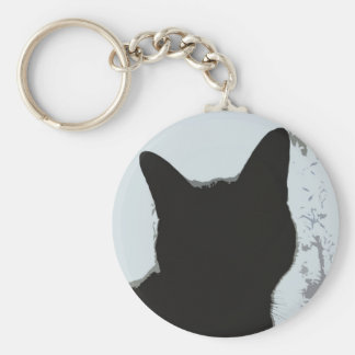 Silhouette Cat Basic Round Button Key Ring