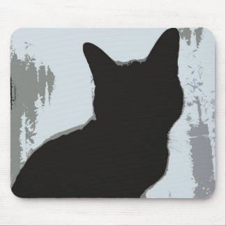 Silhouette Cat Mouse Pad