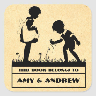 Silhouette children's bookplate square sticker