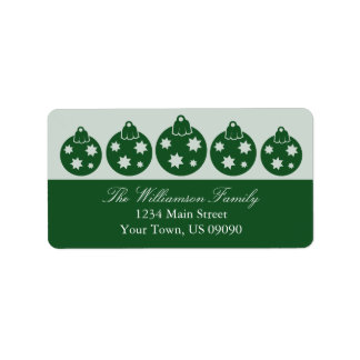 Silhouette Christmas Ornaments Labels (Green)