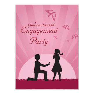 Silhouette Couple Engagement Party Invitation