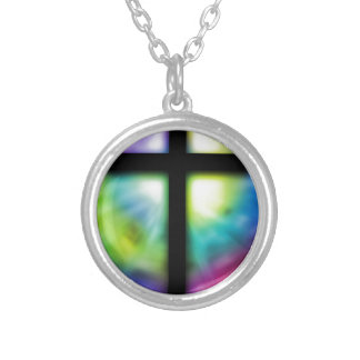 Silhouette cross silver plated necklace
