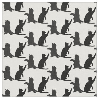 Silhouette Cute Kitten Cats Playing Fabric