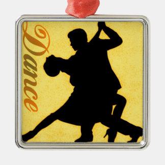 Silhouette Dancing Couple Metal Ornament