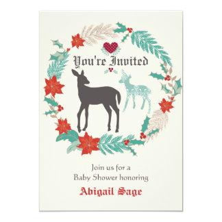 Silhouette Deer Folk Art Winter Baby Shower 13 Cm X 18 Cm Invitation Card