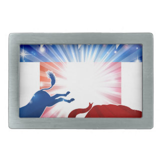 Silhouette Donkey Fighting Elephant Rectangular Belt Buckle