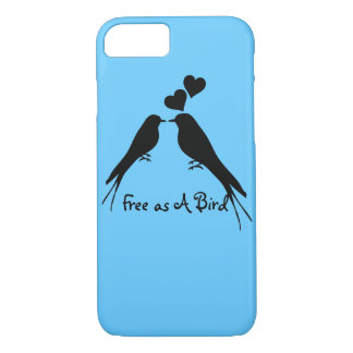 Silhouette Drawing of Two Birds in Love iPhone 7 Case