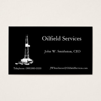 Silhouette Drilling Rig Business Card